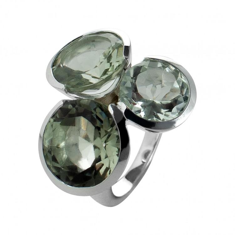 Ring T055, Silber 925°°°, grüner Amethyst