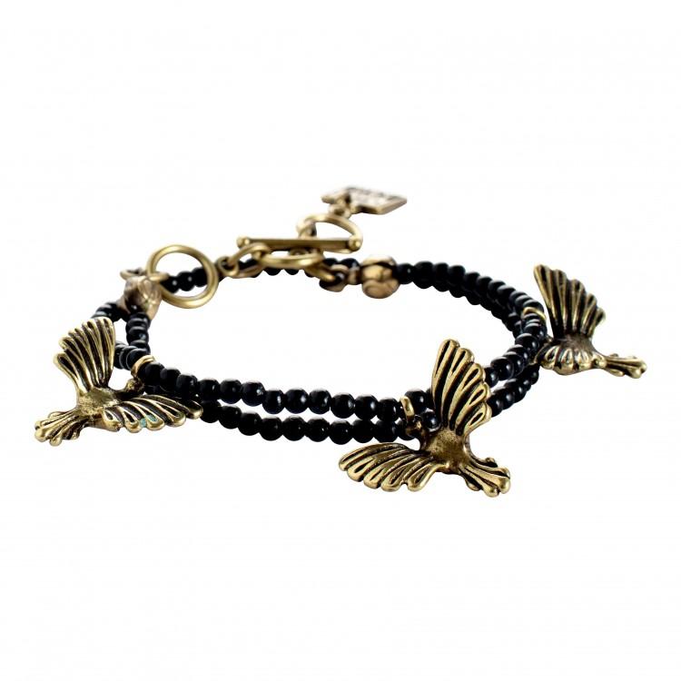 Armband BIRDS-1, col. schwarz/ gold