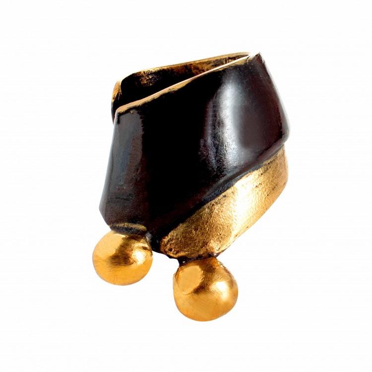 Ring KIRAZA, col. gold/ schwarz, Gr. M/L
