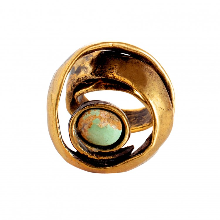 Ring TARNEY, col. gold & stone, Gr. M/L