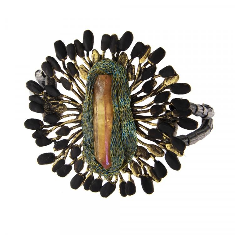 Armband PAVIA, col. gold/ schwarz & Edelstein