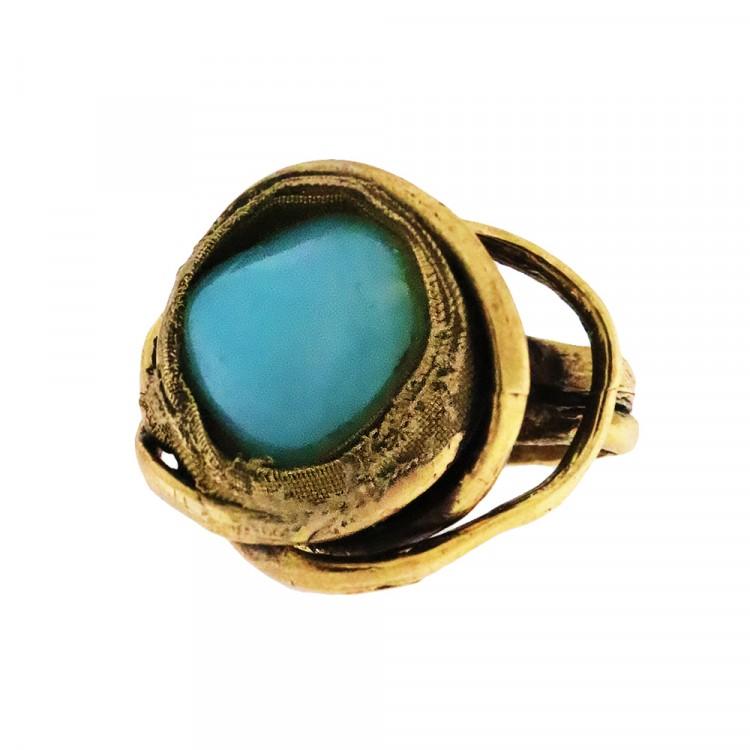 Ring PRENSES, col. gold antik, Achat, Gr. S/M