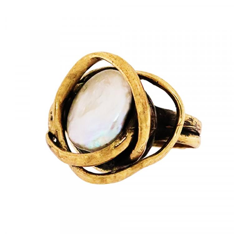 Ring PRENSES, col. gold antik, Perlmutt, Gr. S/M
