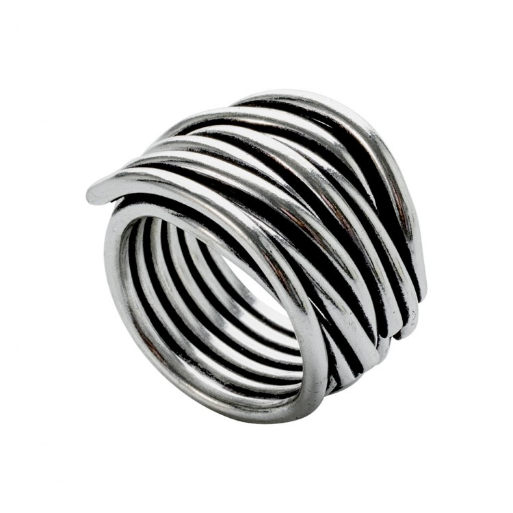 Ring NERAJ019, col. silber oxid., Gr.L