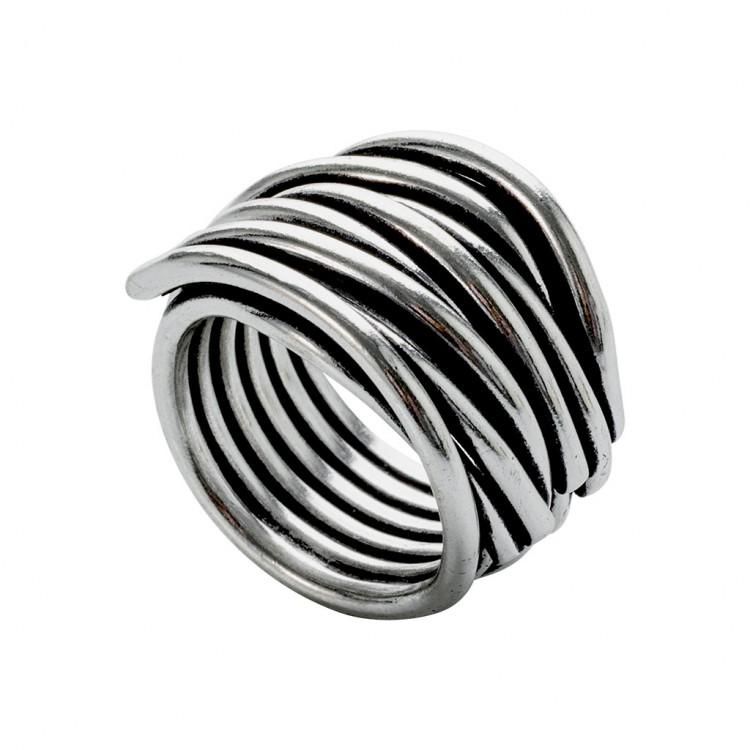 Ring NERAJ019, col. silber oxid., Gr.S
