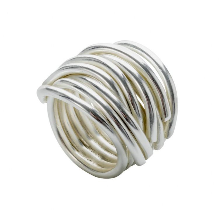 Ring NERAJ019, col. silber weiß, Gr.M