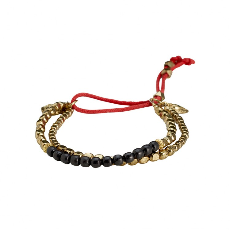 Armband PAKUNA, col. gold/ schwarz
