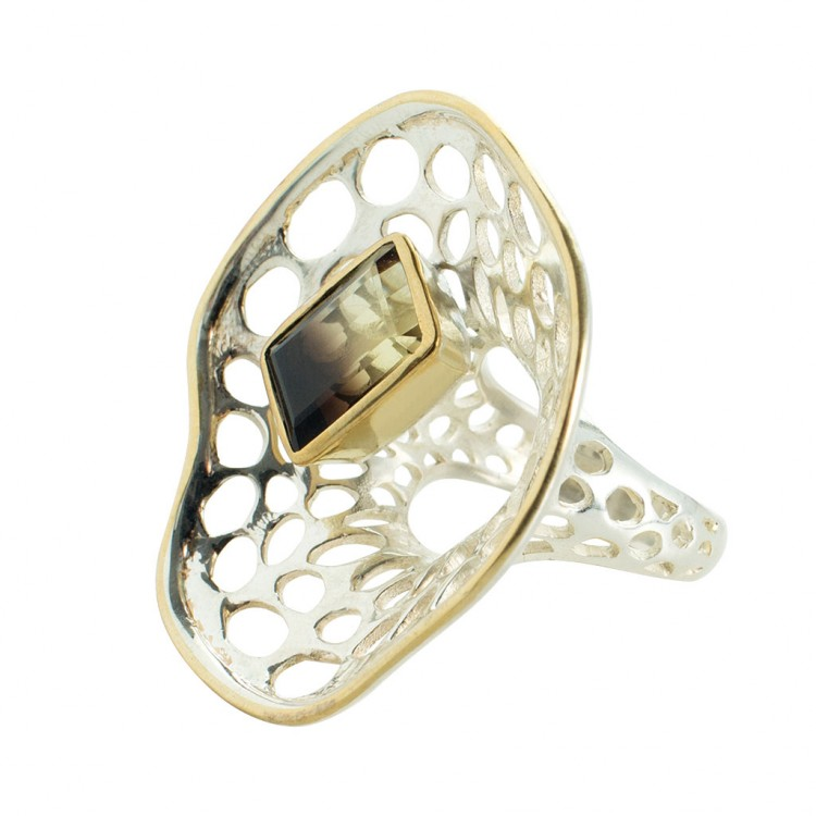 Ring T048, Silber, Lemonquarz