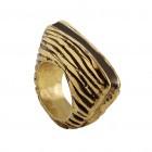 Ring DAVOORI, col. gold/ schwarz, Gr.M