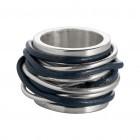 Ring TANUJ002, Silber, Leder jeans Gr.54