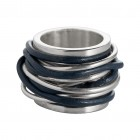 Ring TANUJ002, Silber, Leder jeans Gr.50