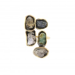 Ring FIVE, col. gold & stones