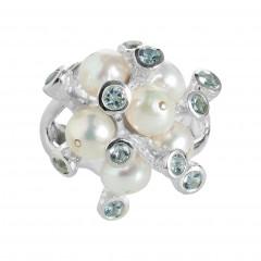 Ring TANUJ052, Silber 925°°°, Perle, Blautopas