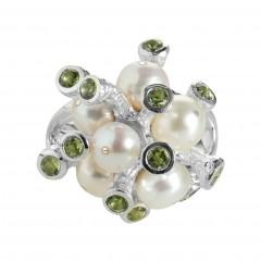 Ring TANUJ052, Silber 925°°°, Perle, Peridot