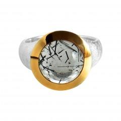 Ring T053, Silber 925°°°, silber/gold Rutilquarz